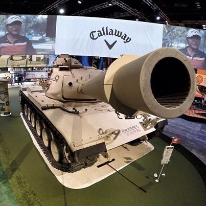 The view from above the Callaway Tank Putting Green, the most photographed and visited booth at the 2014 PGA Merchandise Show in Orlando, Florida.