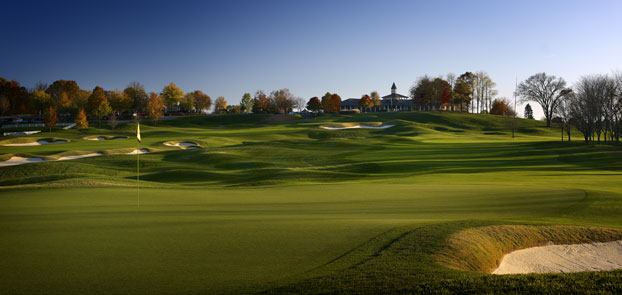 The view of the clubhouse from Valhalla's first green.