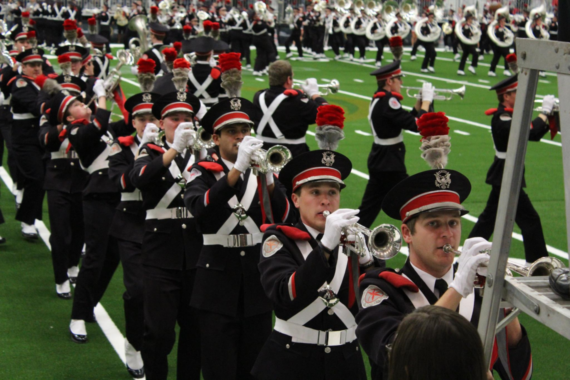 The Ohio State Marching Band performs during the OSU Pep Rally Sunday.