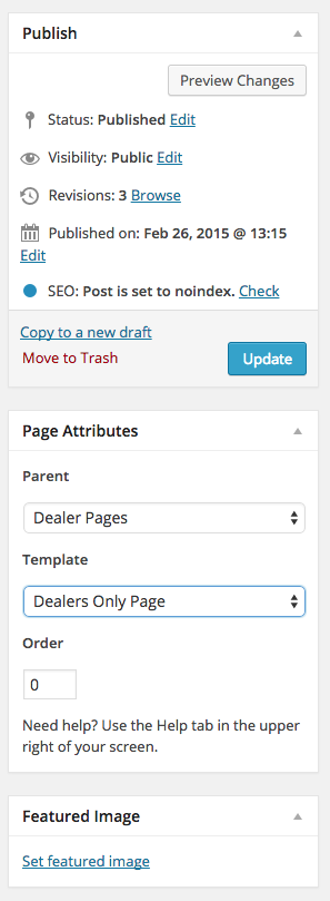 Dealer Page Attributes
